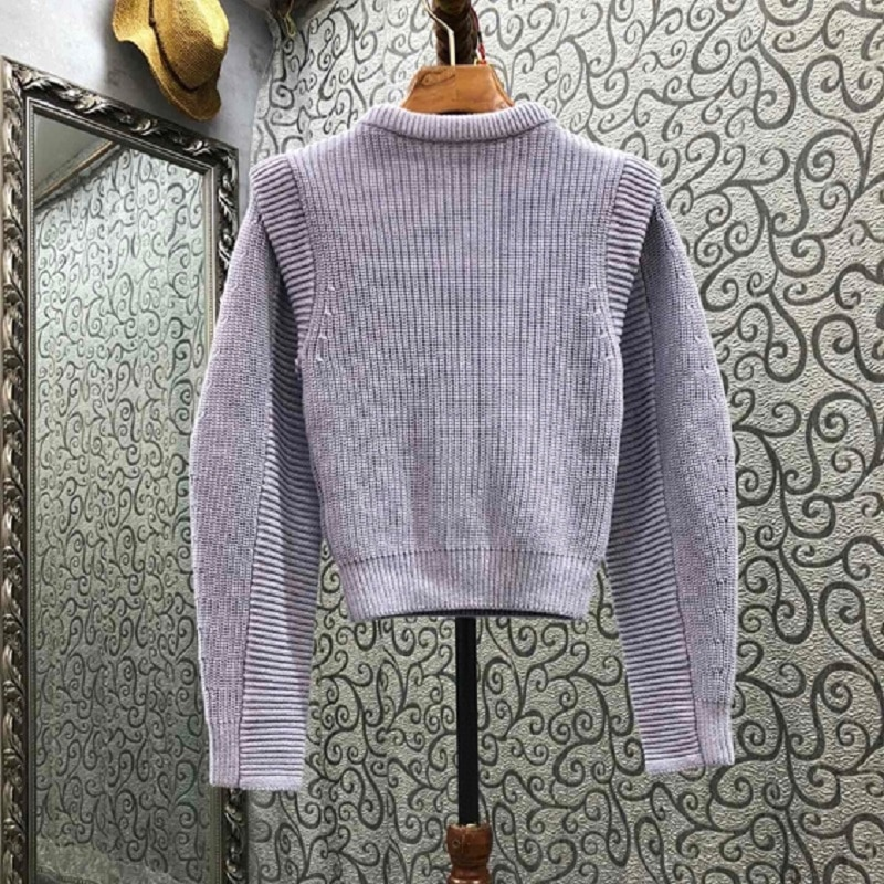 High Quality Purple Sweaters 2021 Autumn Winter Pullovers Women White Lace Embroidery Patchwork Long Sleeve Knitted Jumpers enlarge