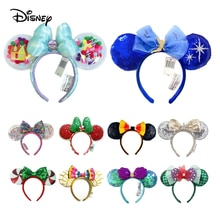 2021 Disney Mickey Ears Headband Sequin Bows EARS COSTUME Headband Peter Pan Headdress Cosplay Plush