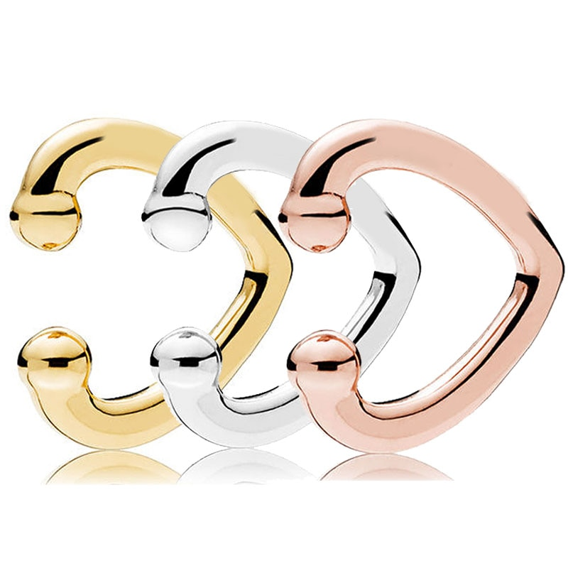 Authentic 925 prata esterlina brinco rosa ouro aberto coração orelha manguito brinco studs para festa de casamento feminino presente europa jóias
