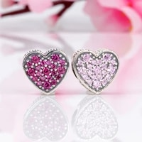 lorena authentic 925 silver pink dazzling heart inlaid zircon heart shaped beads fit original charms bracelet necklace