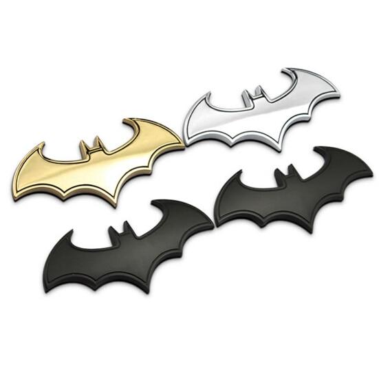 100 Uds 3D bate anillo de plata murciélago de metal auto logo cubierta estilo de coche etiquetas engomadas del coche murciélago de metal hombre insignia emblema cola etiqueta de la motocicleta