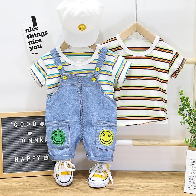 HYLKIDHUOSE Baby Boys Clothing Sets Summer Toddler Infant Shorts Sleeve Stripe T Shirt Denim Bib Shorts Children Kids Clothing