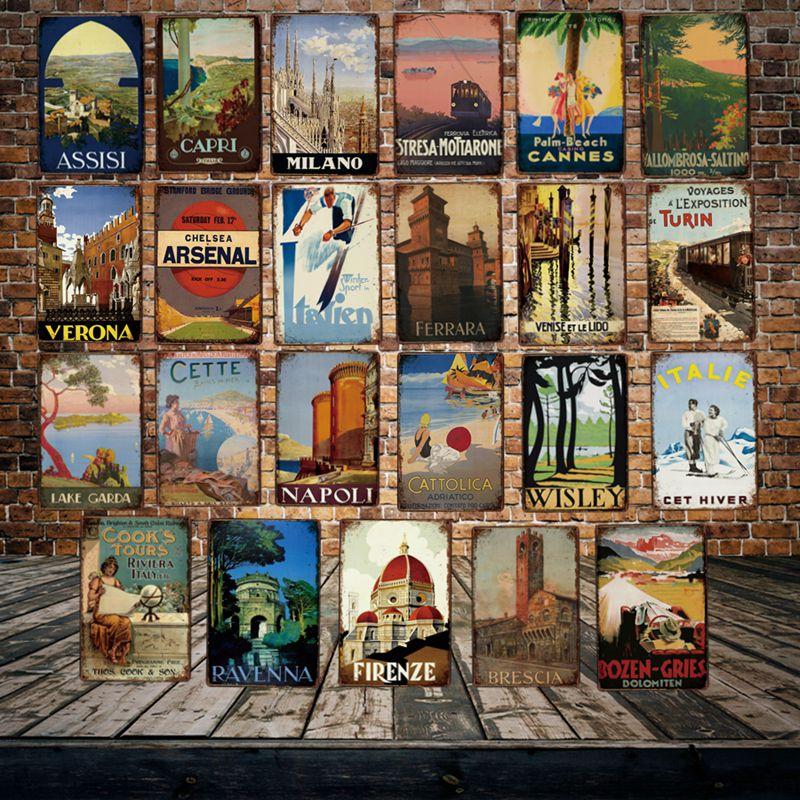 [Mike86] Firenze Italia Verona estaño signo Vintage Ravenna Retro hierro pintura Ferrara icity del arte del cartel Poster La 20*30 CM LT-1840