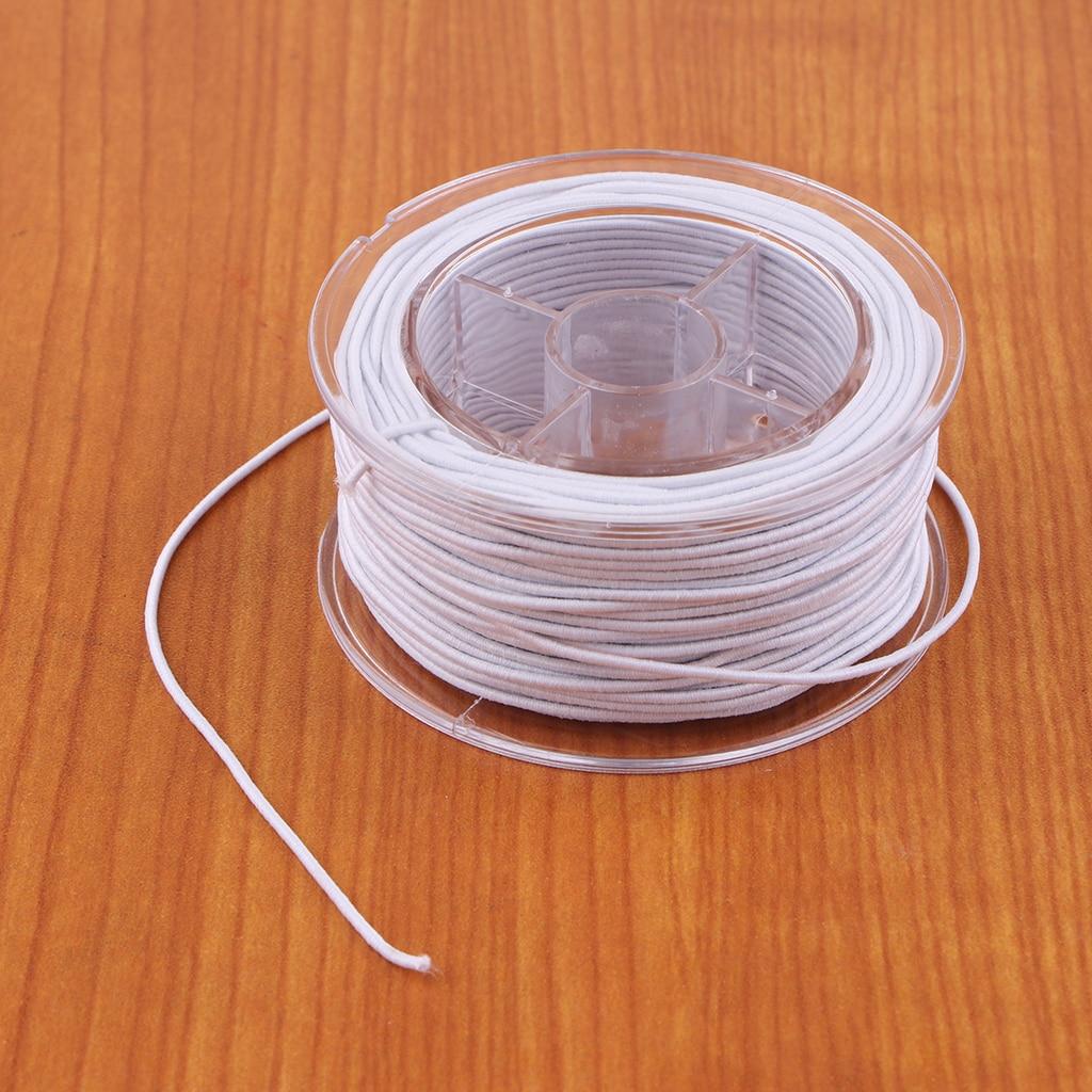 1 rollo de hilo elástico de 30m para hacer joyería, cordón elástico, cuerda elástica DIY, pulseras artesanales, cadena de cuentas, 1,2mm (blanco)