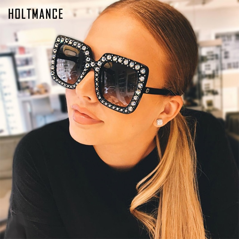 Lunettes de soleil rétro surdimensionnées femmes   Lunettes carrées grand cadre, lunettes entièrement en cristal strass, cadeaux pour cybercélébrités hommes à la mode