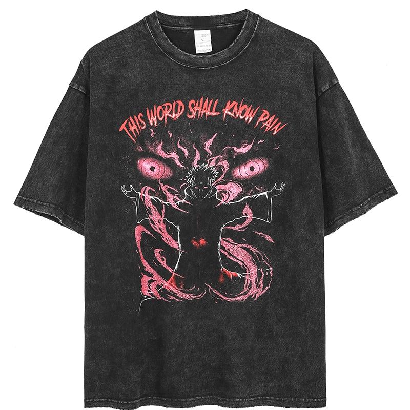 Anime Pain Printed T Shirt Men Retro Washed 100% Cotton Tops Tees Harajuku Tshirt 2021 Streetwear Hip Hop Male T-shirts