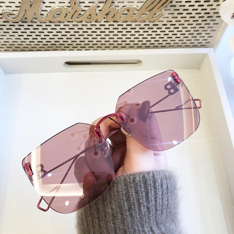 Square large frame trendy Sunglasses sunglasses  rimless sunglasses