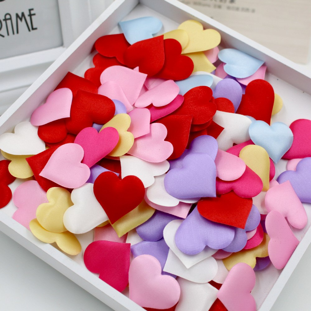 1000 piezas 33mm esponja romántica satén tela corazón pétalos boda confeti Mesa cama corazón pétalos para boda San Valentín día