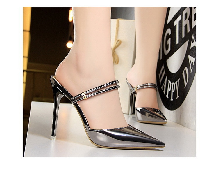 2021 fashion sexy women's high-heeled sandals and slippers metal thin heel sexy women sandals women shoes high heel  - buy with discount