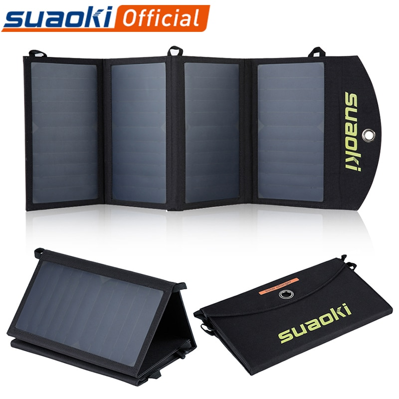 Suaoki 25W Solar Panels Portable Folding Foldable Waterproof Dual 5V/2.1A USB Solar Panel Charger Power Bank for Phone Battery travel solar power bank 10000mah dual usb solar battery portable charger powerbank for all phone