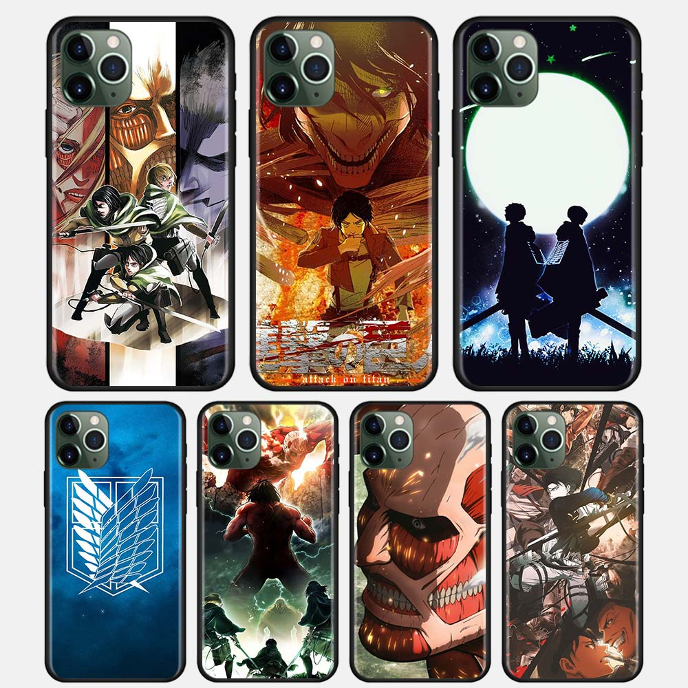 Funda suave Para iPhone 12 11 Pro Mini Max XR XS MAX Attack On Titan 4, de silicona, color negro, Guscio, Para IPHONE 7 8 Plus