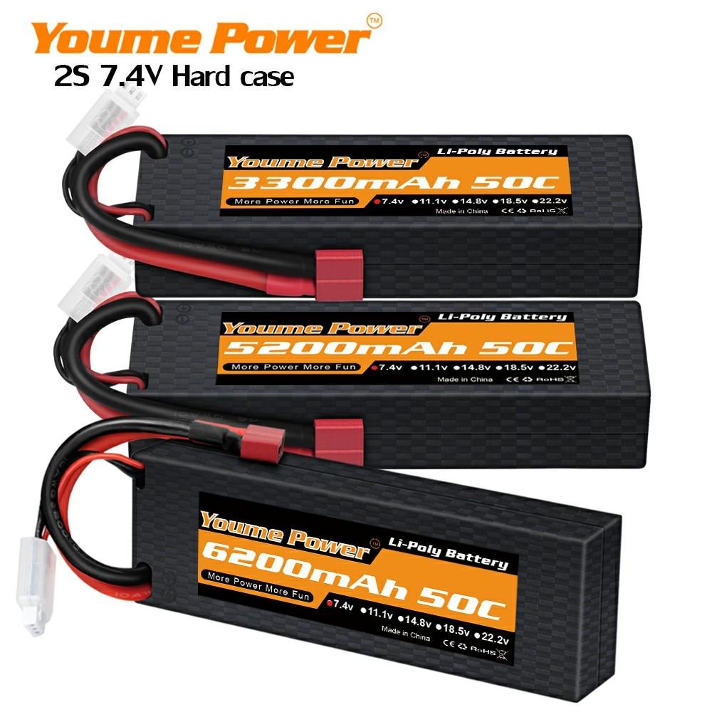 2PCS Youme 2S Lipo Battery 7.4V 5200mah 6200mah 3300mah 4500mah Hard Case T Deans Female For TRX Car