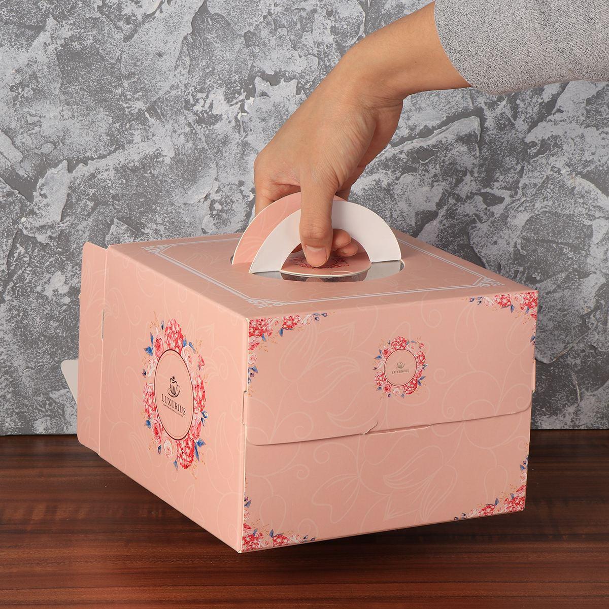 6 pulgadas portátil pastel de cumpleaños caja rosa de boda de papel cajas para pasteles y embalaje panadería de caja de papel para fiesta de boda