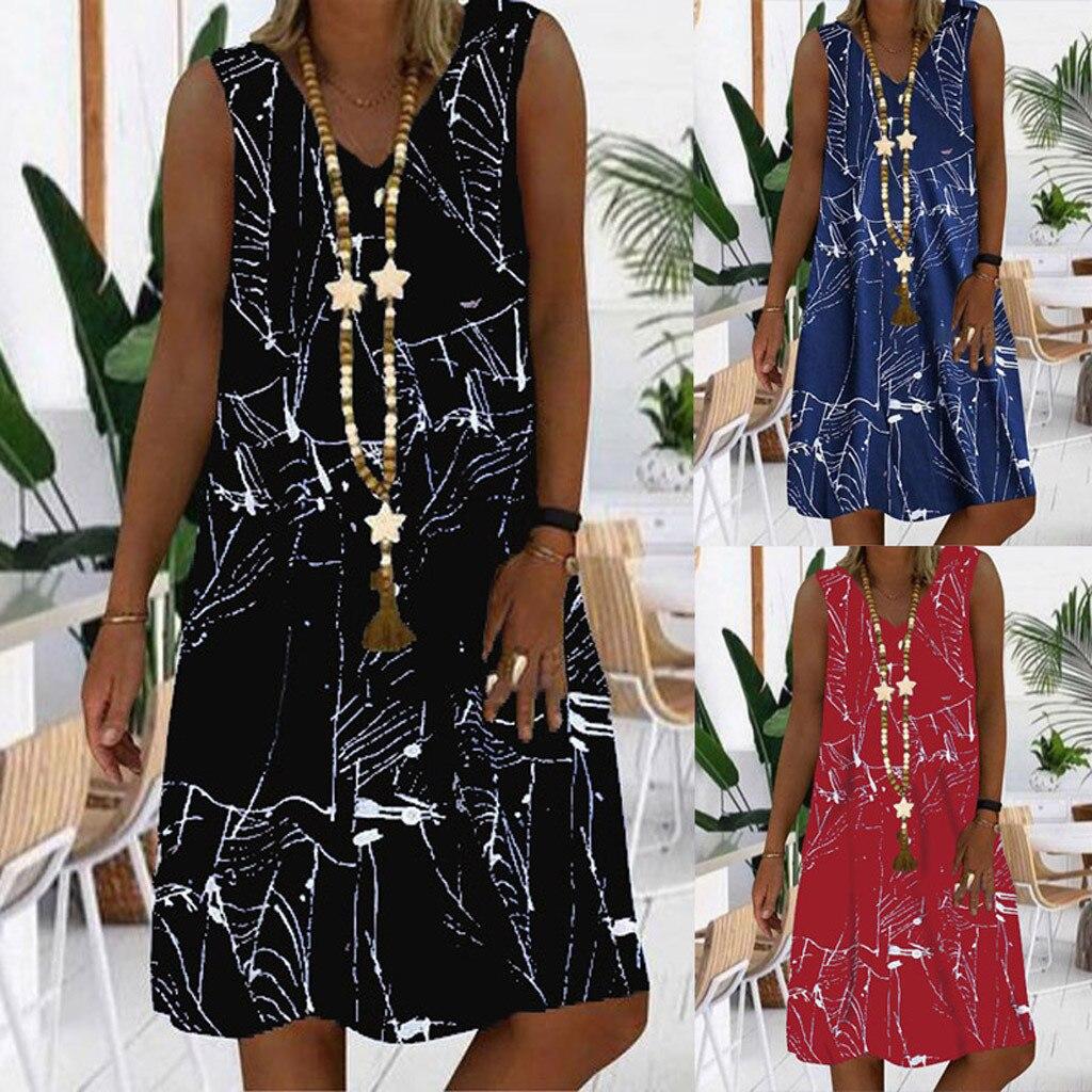 Vestido de verano suelto con cuello en V, informal, estampado de rayos,...