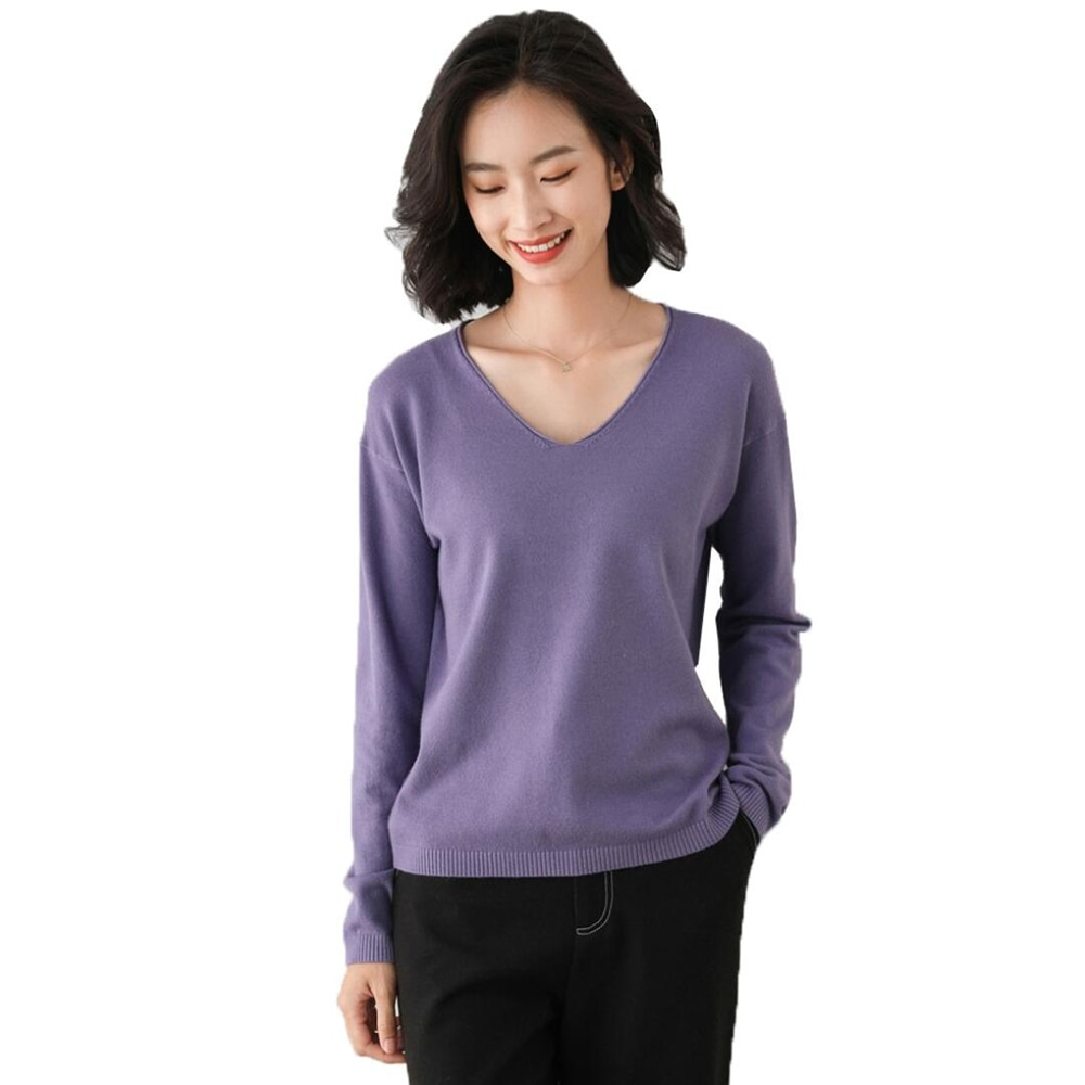 Jersey tejido para mujer, jerséis de punto para mujer, Otoño Invierno jersey básico de primavera, jerséis suaves entallados para mujer