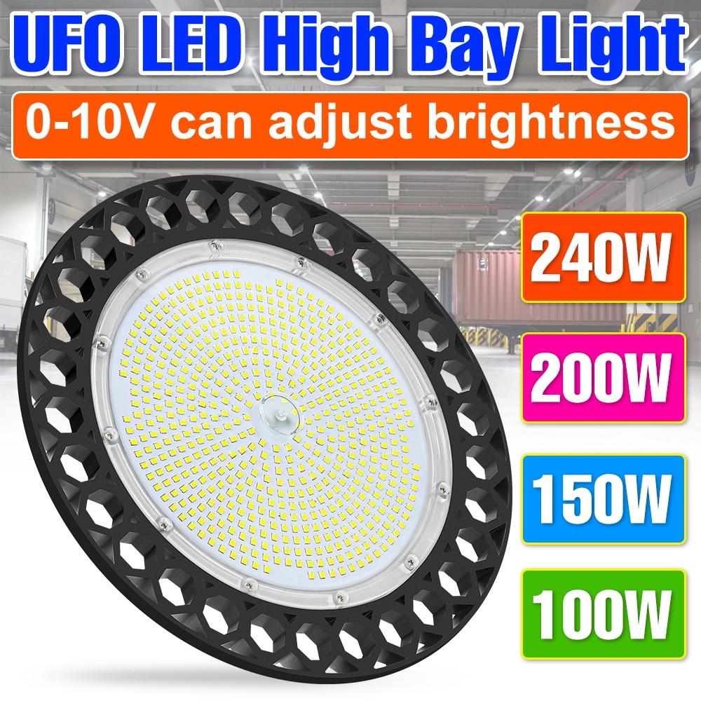 LED High Bay Light 200W Industrial Lamp 220V Ceiling Lamp 100W 150W LED Light Bulb 240W Industrial Lighting Workshop UFO Lampara