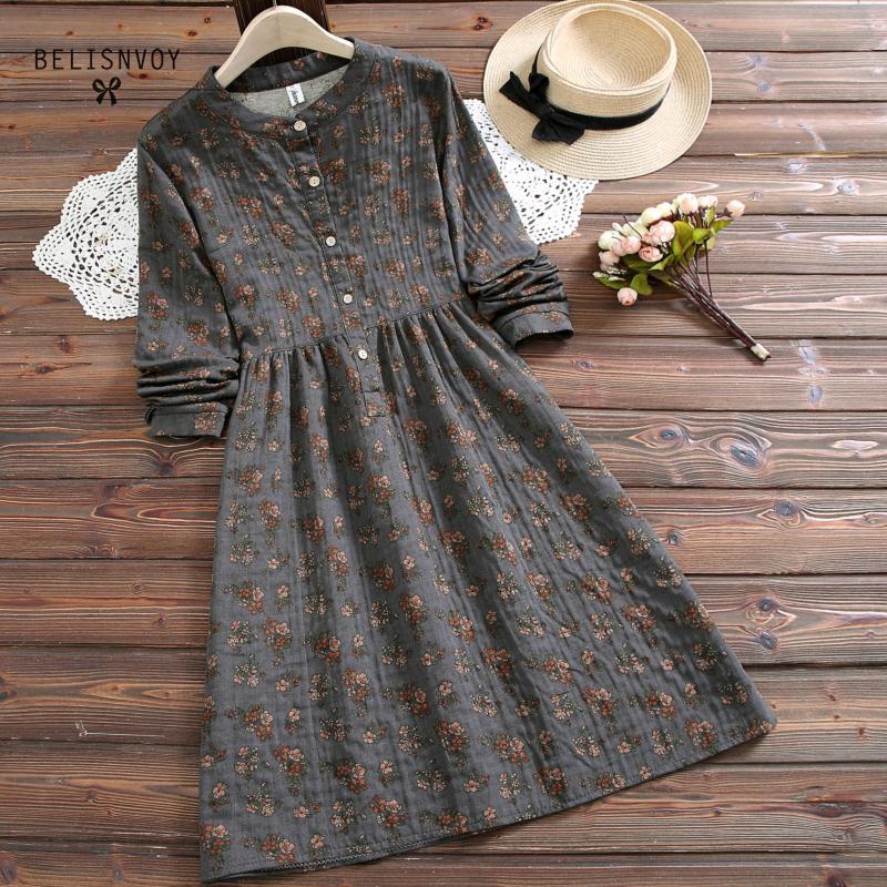 Prairie Chic Style robe mode printemps automne nouvelles femmes Vestidos col montant robe imprimée florale décontracté manches longues Vintage