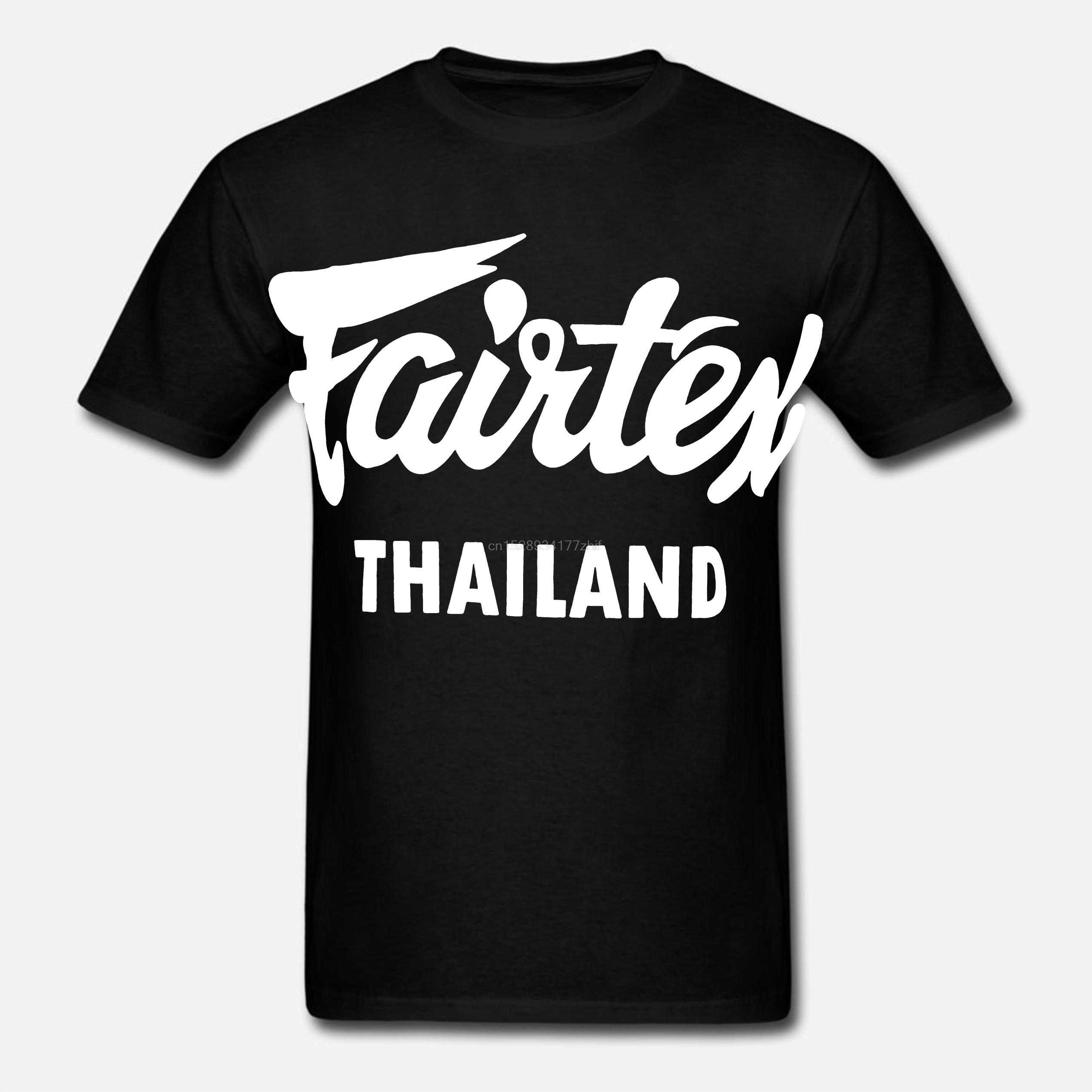 Fairtex Thailand T-Shirt Black Casual Muay Thai Kickboxing Round Neck Loose Graphic Tee Size S-3xl