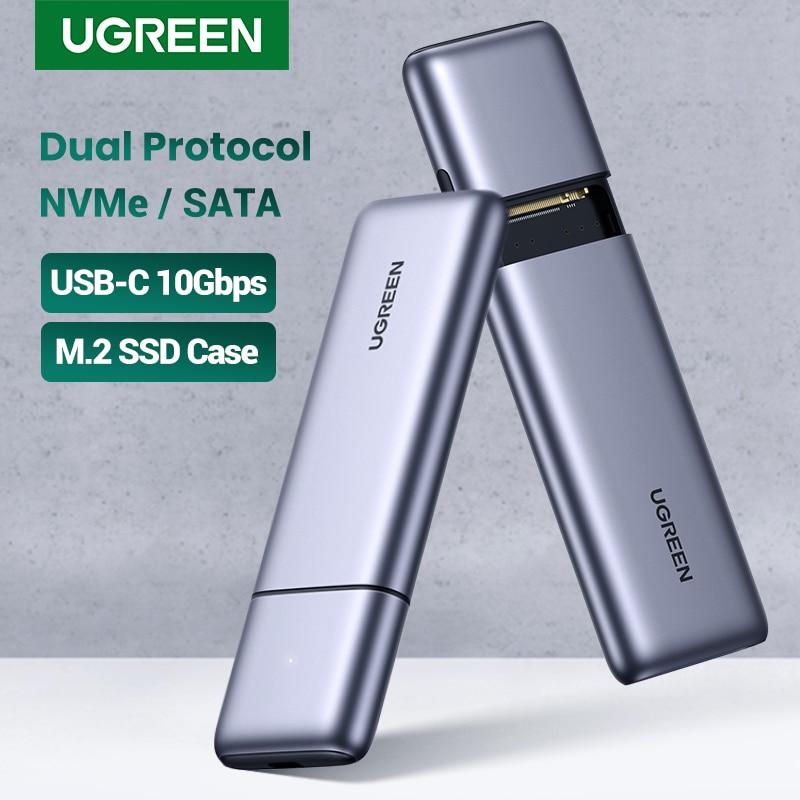 UGREEN-SSD enclosure ، M.2 Dual Protocol NVMe SATA إلى USB 10Gbps M2 ، حاوية محرك الأقراص الصلبة الخارجية