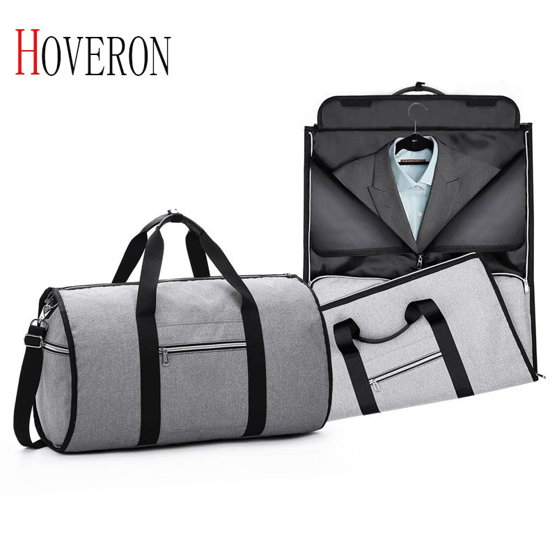 bagsmart waterproof black nylon gown garment bag for traveling with handle lightweight suit bag business men ravel bags for suit HOVERON Men Travel Bags for Suit Foldable Waterproof Bags Hand Luggage Business Travel Duffle Bag 5 Stars Weekend Luggage Bag