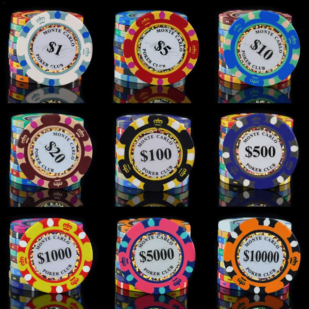 24 unids/pack fichas de póquer de cerámica 14g Set monedas de Casino de arcilla 40mm fichas de póquer de monedas de entretenimiento monedas de dólar
