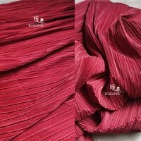 pleated fabric wine red miyake folds imitation cotton linen diy patches art painting decor skirt clothes dress designer fabric
