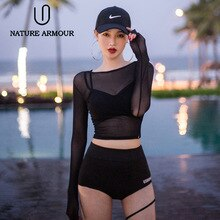 Korean bikini swimwear women's three-piece black mesh see-through bikini