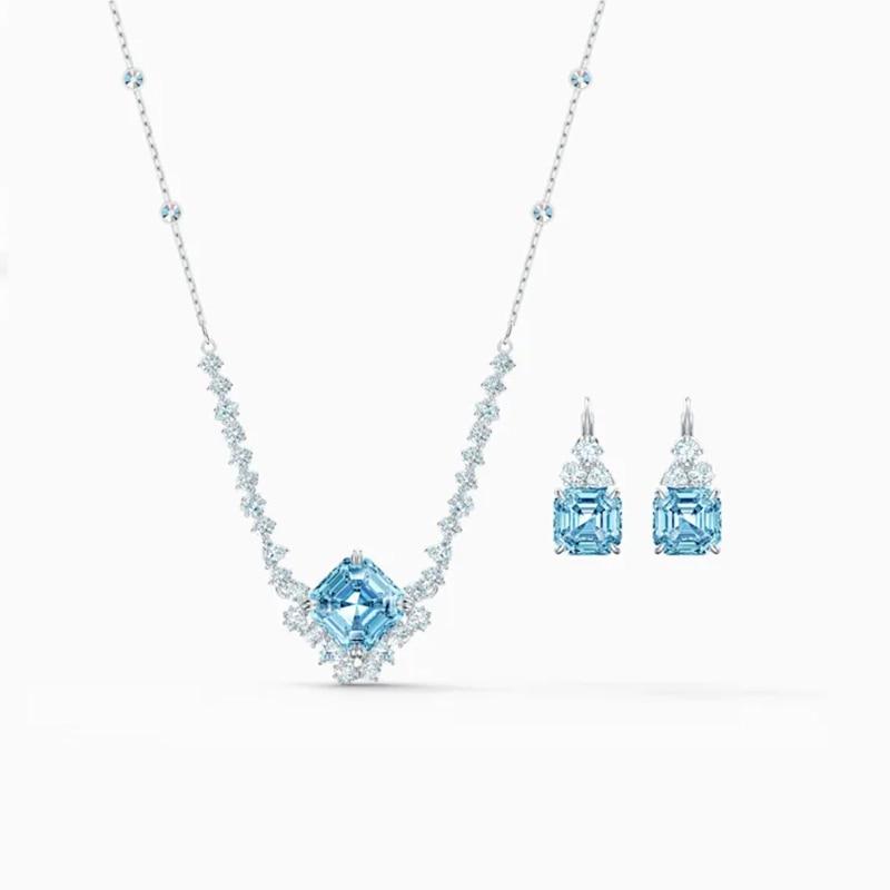 Conjunto De Collar Brillante Para mujer, Conjunto De joyería femenina con diseño...
