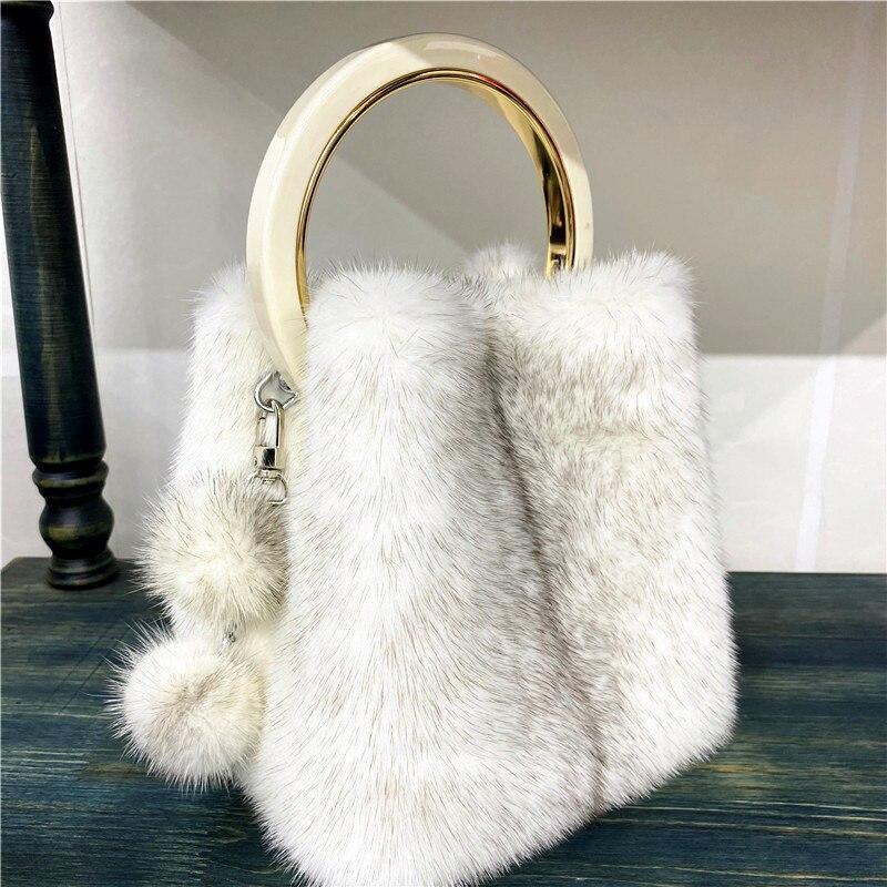 New Fashion High-End Women's Mink Fur Handbag Autumn And Winter Fur Plush Wallet Handbag Female Mobile Phone Bag Cosmetic Bag