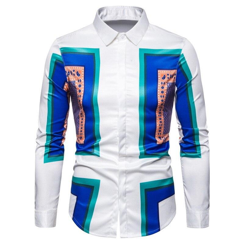 ZUZK de calidad superior los hombres, bloque de impresión camisa de manga larga Material suave de los hombres de moda, camisa de los hombres de lujo de tendencia Retro camisa