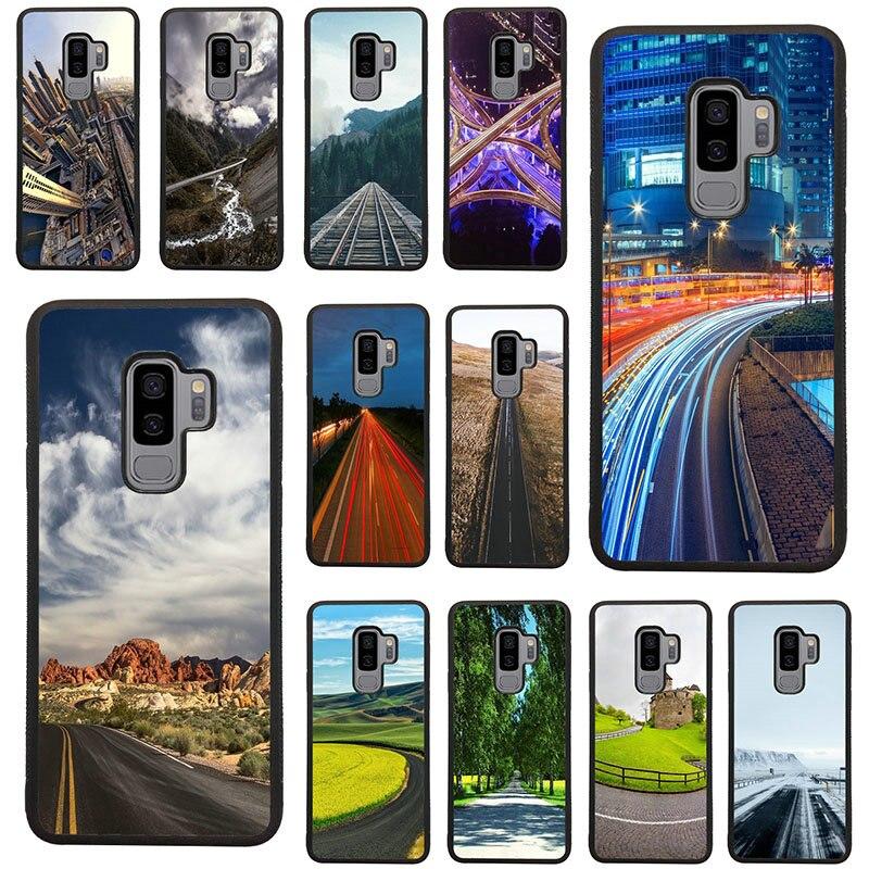 Funda de teléfono TPU rígida para Samsung Galaxy A5, A7, A8, J3, J4, J6, J7, J8 2017, 2018, S7, S8, S9, S10, con el mejor paisaje de autopista