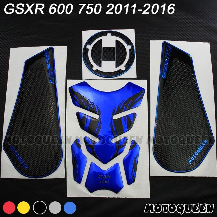 Protector de almohadilla de depósito para motocicleta pegatinas de Gas combustible rodilla agarre tracción lateral para SUZUKI GSXR 600 750 L1 L2 L3 L4L5L6 2011-2016