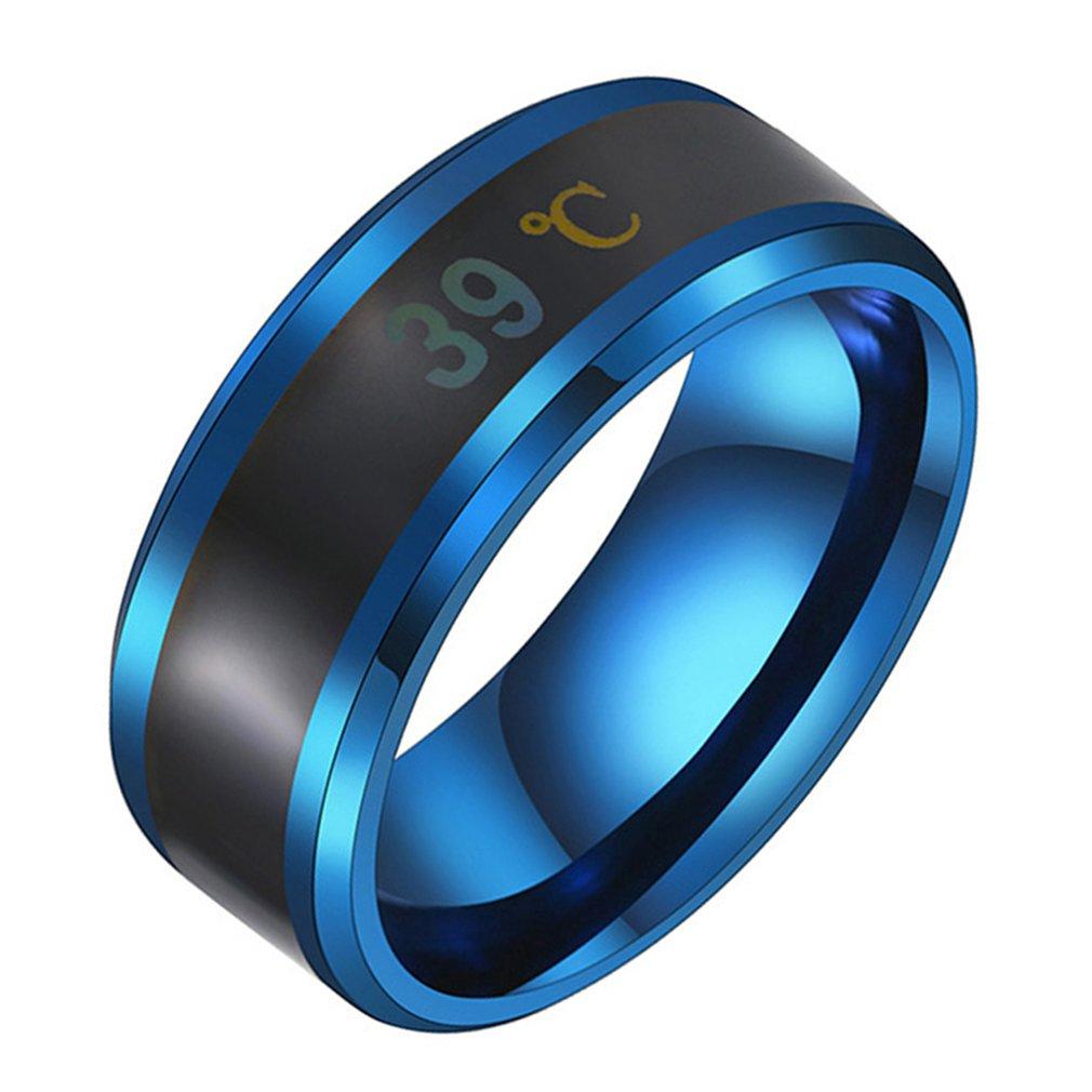 Multifuncional à prova dmultifunctional água inteligente temperatura par anel titanium aço dedo jóias fingertip temperatura sentido