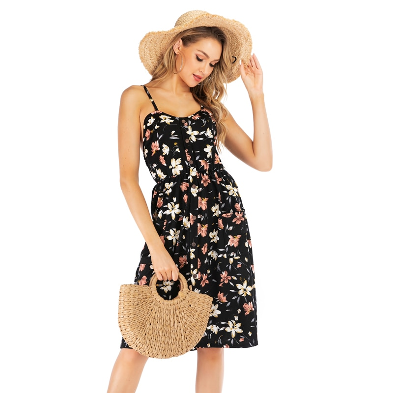 Dress Women 2020 Fashion Sexy Spring Summer Style New Floral Strap Female Flower Print