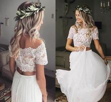Modeste deux pièces Boho robe de mariée à manches courtes en mousseline de soie bohème plage robes de mariée en dentelle haut vestido de novia LCNM04