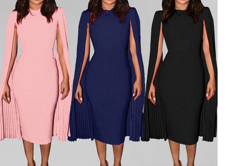 2019 Women Bodycon Formal Cloak Sleeveless Midid Dress Slim Evening Party Club Dress Fashion AU