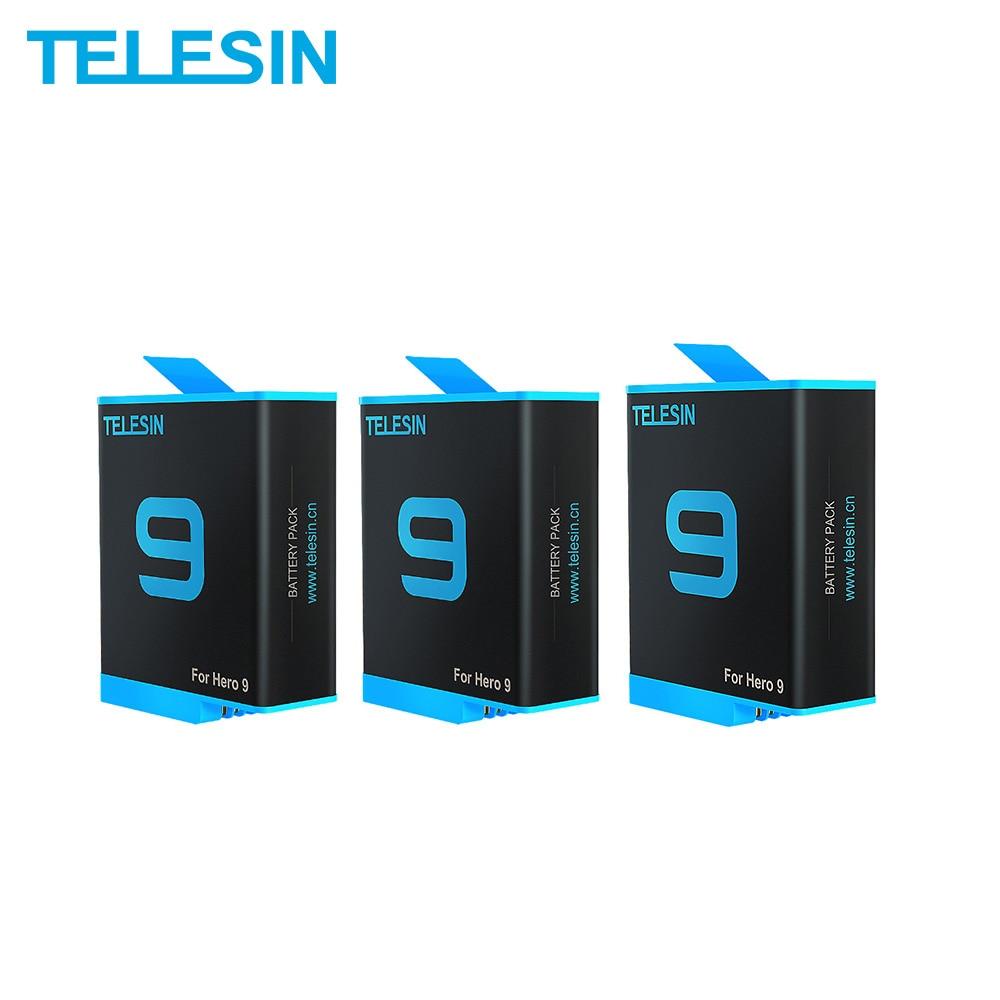 TELESIN 2 حزمة بطارية 1750 مللي أمبير ل GoPro بطل 9 10 مع صندوق بطارية ل GoPro 9 10 الأسود عمل كاميرا الملحقات