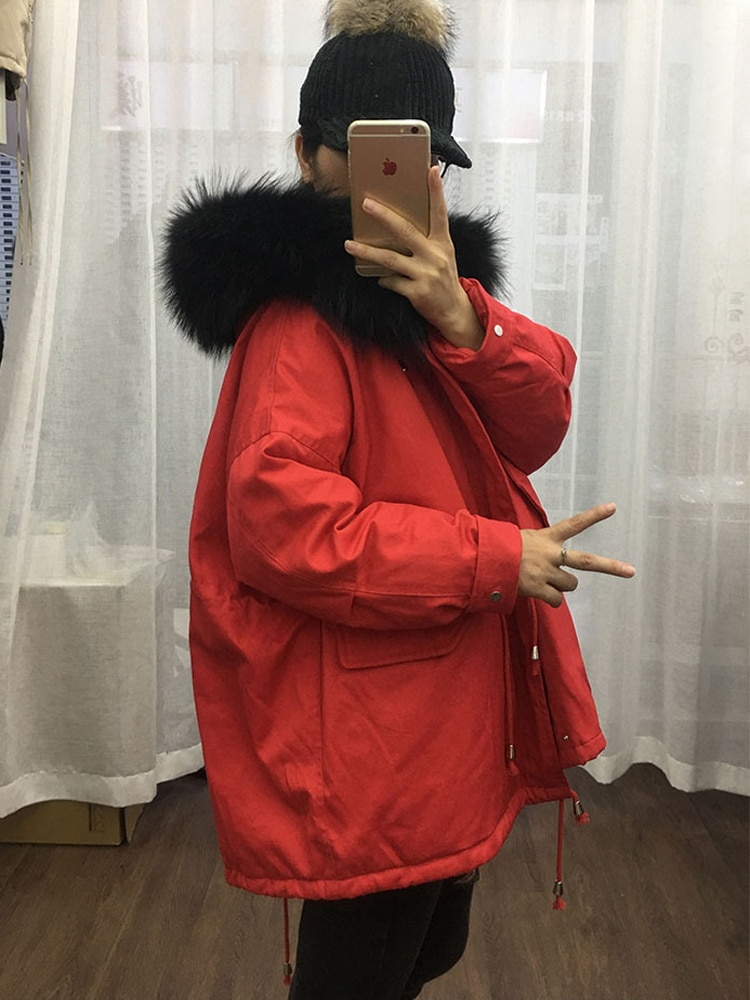 Korea style women's winter duck down coat short puffer jackets for ladies with real fur collar hood red black green pink cream