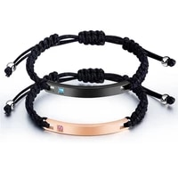 couple gift freely adjustable rope romantic stainless steel couple bracelets rose gold silvery set zircon jewelry for women