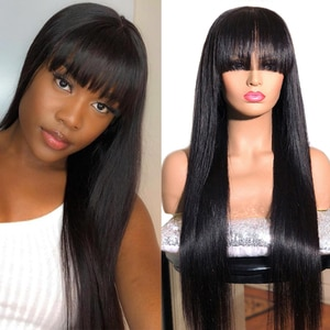 Long Straight Natural Black Synthetic Hair Machine Wigs For Women Synthetic Glueless Machine Wigs With Bangs