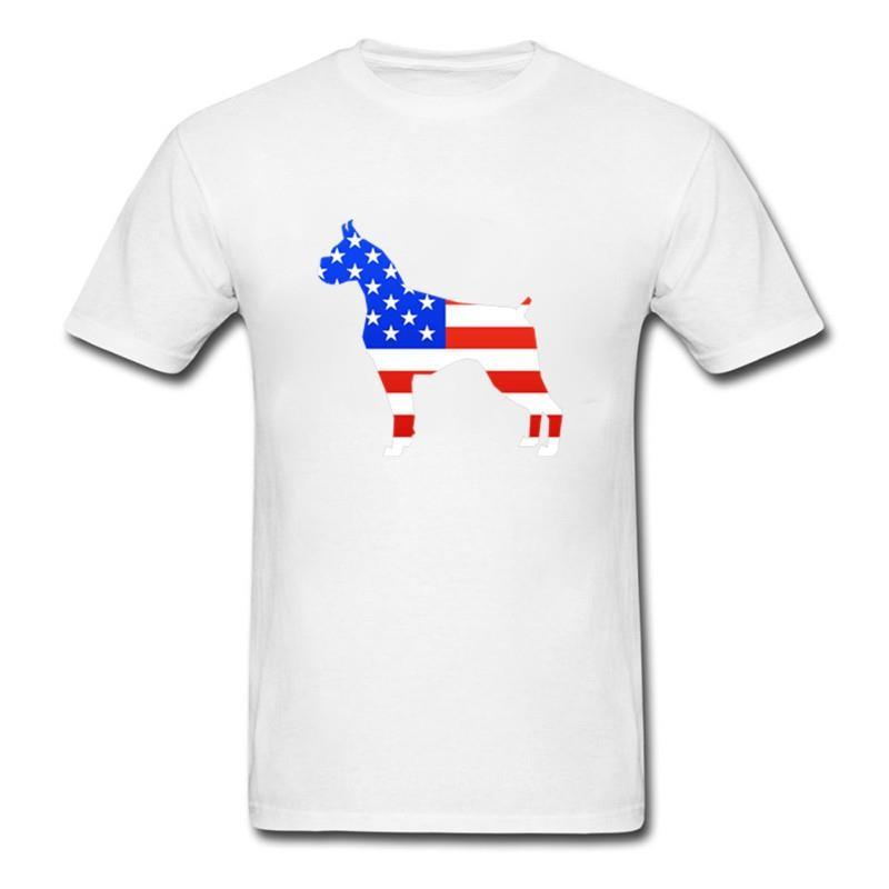 Bandera Americana Boxer silueta Boxer perro divertido camiseta Cool Animal manga corta Camiseta para hombre Muay Thai kárate camiseta