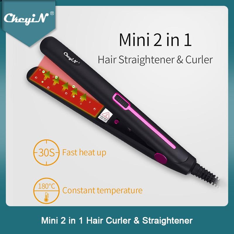 Mini Professional 2 in 1 Portable Hair Curler Hair Straightener Flat Iron Hairs Straightening Corrug