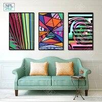 Toile coloree geometrique dart moderne  peinture murale abstraite  image dart pour salon  decoration de la maison  affiche et impression