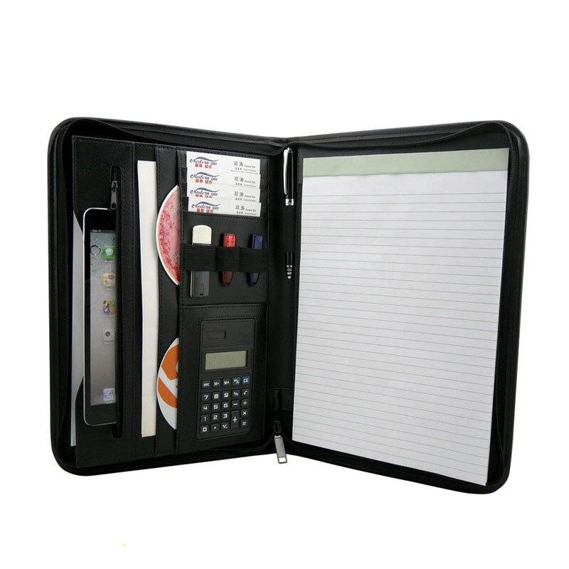Бизнес Портфолио информация папки калькулятор из искусственной кожи многофункциональный А4 менеджер файл папка офисные органайзеры M700370