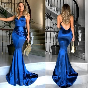 Royal Blue Mermaid Evening Dresses Long Open Back Spaghetti Straps Pleats Simple Evening Party Wear Party Gowns Prom Dress