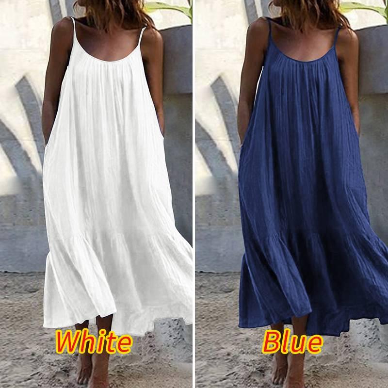 VONDA verano azul oscuro vestido largo 2020 mujeres Casual cuello redondo manga Sexy sin mangas sólido Color Maxi vestidos de talla grande túnica Bohemia
