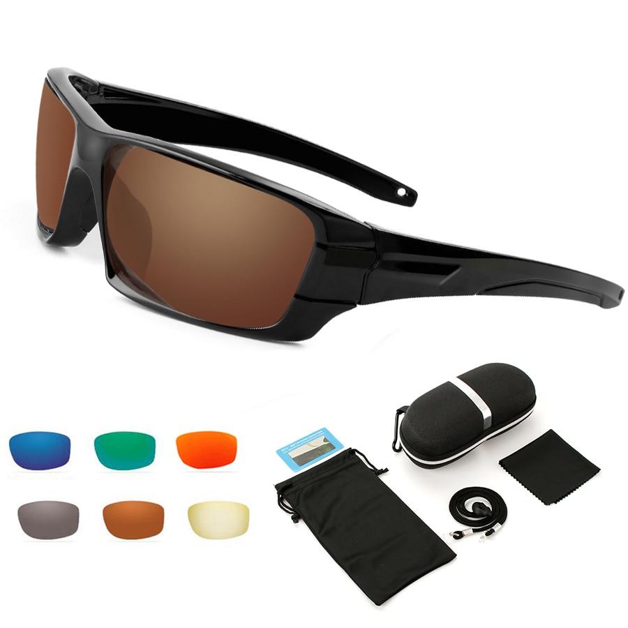 Gafas de sol polarizadas NEWBOLER, gafas de sol deportivas antideslumbrantes para pescar, marrón, correr, senderismo, Camping, gafas UV 400, 6 opciones de lentes