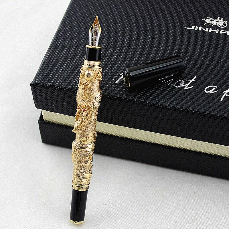 Jinhao Благородный бренд золотой дракон бизнес Подарочная авторучка 0,5 мм мелкий наконечник металл золотые ручки для письма школьные офисные ...
