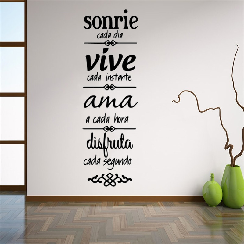 AliExpress - Spanish Quotes Phrase Home Decoration Wall Decals Wallpaper waterproof Vinyl Stickers For Office Room Wall Decal Mural RU124