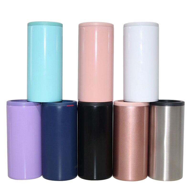 الجملة أفضل بيع 12 أوقية سليم يمكن برودة 9 ألوان حامل مشروبات مكنسة من الفولاذ المقاوم للصدأ الترمس جدار مزدوج للحزب هدية
